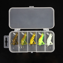 5 Pcs Luminous Fishing Lure 3g 4cm Artificial Locust Grasshopper Lures Insect Shape Hard Bait Set In Fishing Tackle Box Pesca(China)