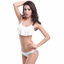 2017 swimsuit adult swim figures Ruffled Woman low waist bikini swimwear Halter Women's swimming swimsuit trunks NSYZ024