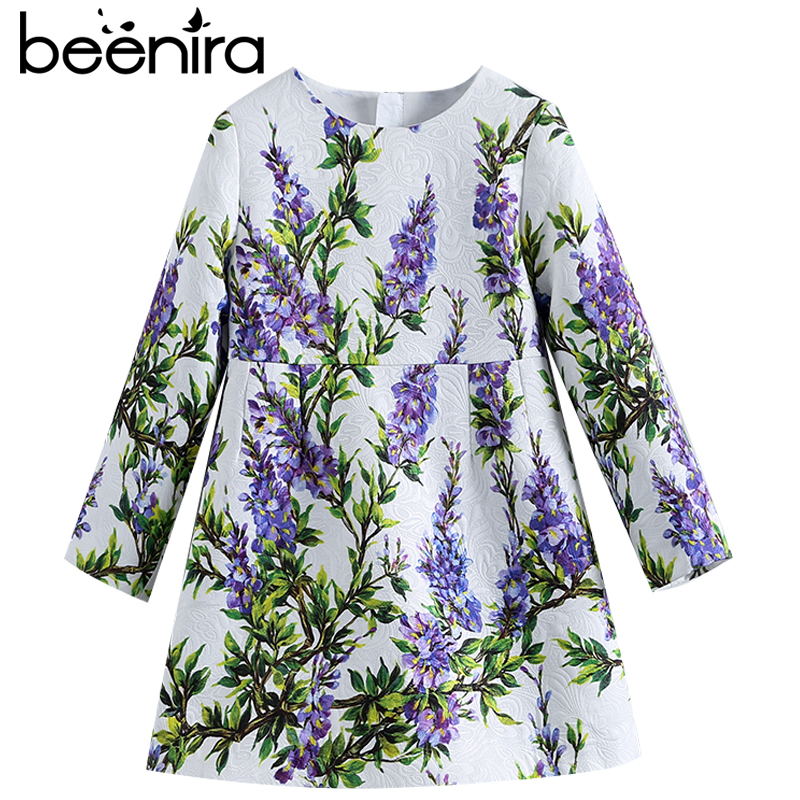Beenira Children Autumn Dresses 2017 New Fashion Style Kids Long-Sleeve Lavender Pattern Dress Design 4-14 Year Baby Girls Dress<br>