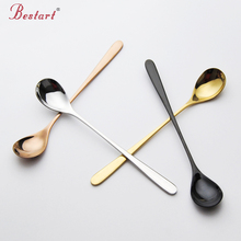 2PCS Stainless Steel Gold Ice Spoon Set Long Handle Black plated tableware for Coffee Ice Cream Small Desser Spoon Free shipping