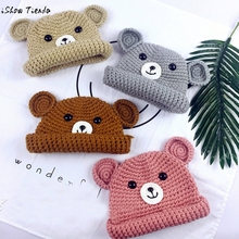 Winter Hats For Kids Cute Bear Pattern Knitting Prince Princess Cap Warm Capacete Infantil