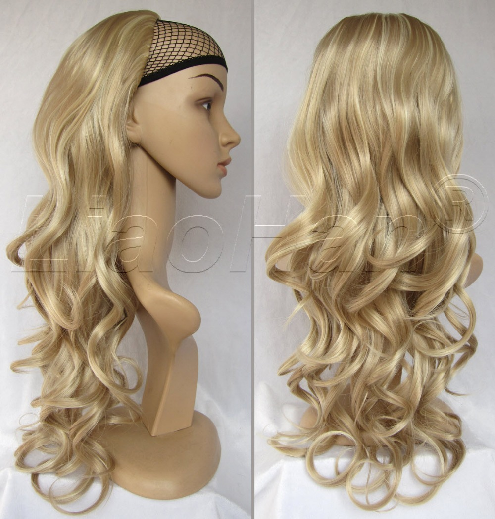 Fashion 3/4 Half Wig Fall Long Curly Hair Fall Highlights Brown Mixed Blonde Wig for Women #14H613<br><br>Aliexpress