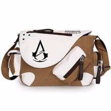 WISHOT Assassins creed Bags Canvas leather Shoulder Bag Messenger Bag teenagers Men women's Student travel School Bag(China)