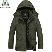 Afs Jeep 2017 Brand New Winter Coat male Parka Men Thick Warm Wool Liner Hooded Collar Plus Size M-5XL Winter Jacket Men(China)