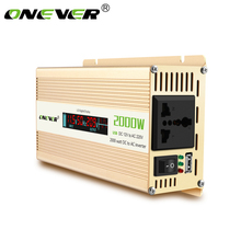 Onever Car Inverter 12v to 220v Power Inverters 2000W Power Converter DC12V to AC 220V Voltage Transformer with LCD Display(China)