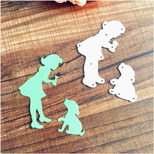 Girl and dog metal die cutting dies scrapbooking embossing folder suit for big shot cutting machine