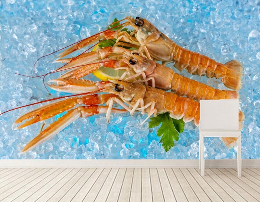 Papel de parede Seafoods Shrimp Ice Food wallpapers,restaurant fast food shop bar dining room TV wall kitchen 3d murals<br>