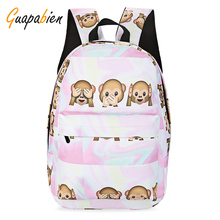 Guapabien Preppy Style Cartoon Monkey Print Backpack Casual Girl's School Canvas Backpack Portable Zipper School Bag Rucksack(China)