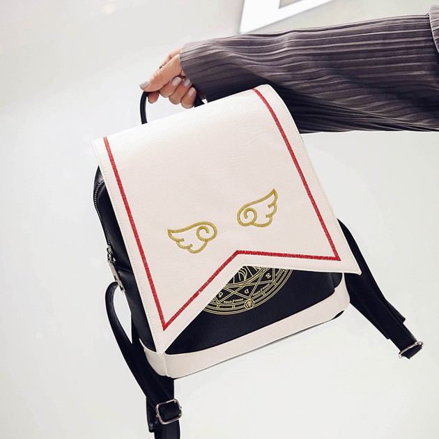 Anime Cardcaptor Sakura cos Card Captor SAKURA Cartoon Cute birthday present Leisure backpack Shoulders bag Wings logo<br>