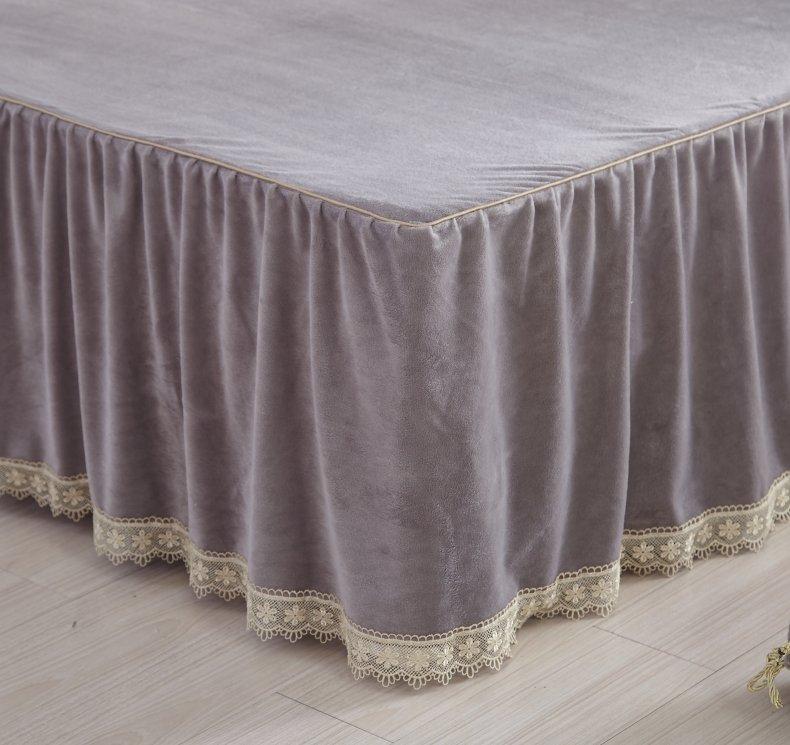 3Pcs Fleece Bed Skirt Set W/ Pillowcases, Mattress Protective Cover 27