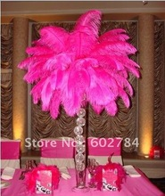 EMS Free Shipping 50pcs/lot 16-18 inches 40-45cm hot pink ostrich drab feather ostrich plumes ostrich plumage(China)