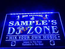 DZ038- Name Personalized Custom DJ Zone Music Turntable Disco Bar Beer Neon Sign hang sign home decor shop crafts(China)