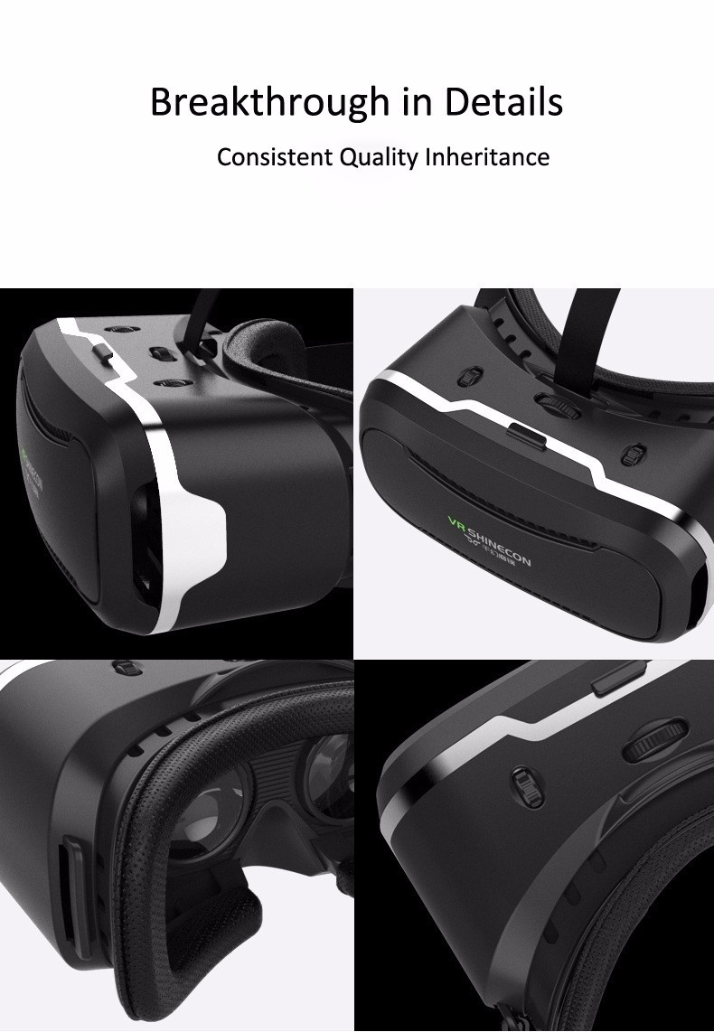 VR Shinecon 2.0 Google Cardboard VR BOX 2.0 Virtual Reality goggles VR 3D Glasses Immersive for 4.5-6.0 inch smartphones 35