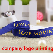 Company Custom Gild Logo Grosgrain Ribbon Wedding & Birthday Personalized Gifts Decoration Flower Bunch Printing Names /Logos(China)
