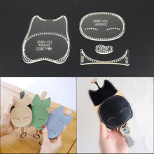 1set Leather handicraft cartoon cat hanger sewing mode acrylic template 9*13*2cm(China)