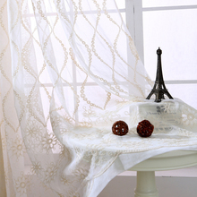 Pastoral Style Cotton Polyester Tulle Fabrics Flowers  Embroidered Living Room Bedroom Window Curtain Fabric Translucent
