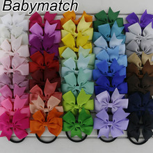 Babymatch 80pcs/lot 3'' Grosgrain Ribbon Hair Bows Tie With Pony tail Holder Hair Accessories Boutique Hair Girls Bows(China)