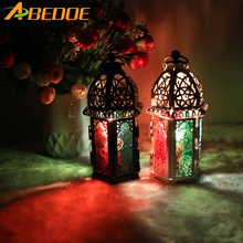 ABEDOE Vintage Moroccan Decor Lanterns Hollow Candlestick Candle Holder Windproof Candle Holders For Wedding Home Decoration(China)