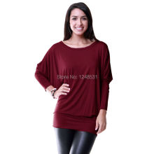 Women's Dolman Long Sleeve Modal Tunic Top Solid Color t-shirts Batwing Sleeve Knitted Shirts