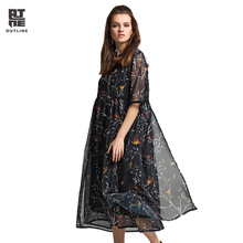 Outline Vintage Summer Dress Famale Floral Print Chiffon Long Dress Women V-neck Half Sleeve Plus Size Elegant Vestidos L172Y022