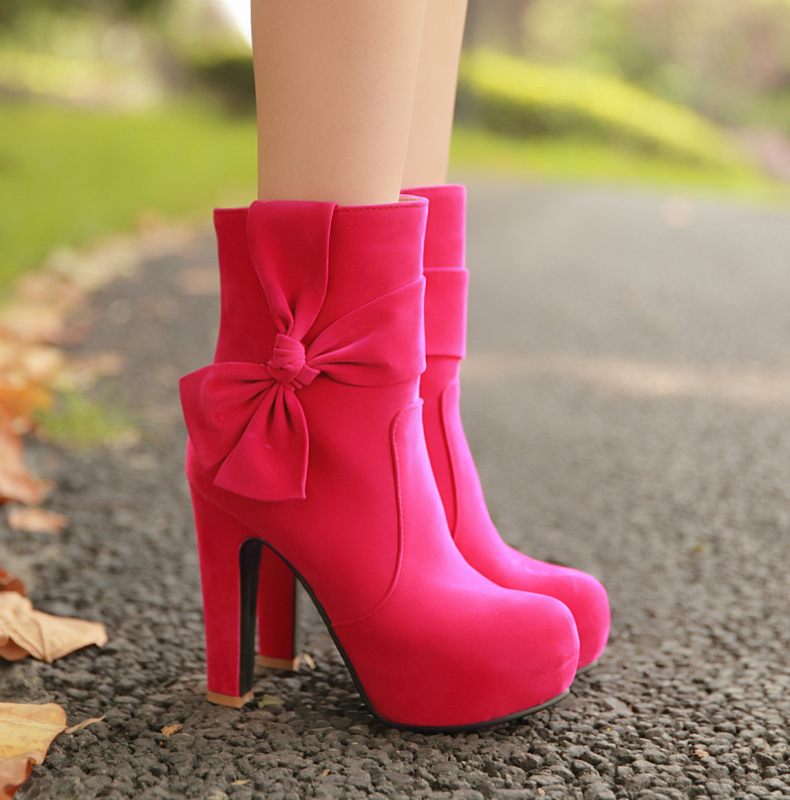 women cute high quality pink bow tie martin boot lady cute high heel spring and autumn boots botas femininas casual shoes<br>
