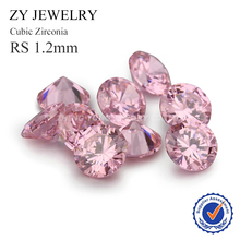 1.2mm Round Shape Machine Cut Loose Cubic Zirconia Pink Synthetic Gemstone Beads(China)