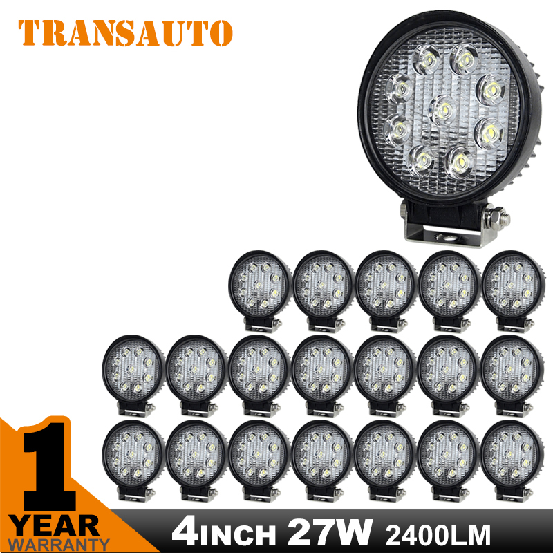 TRANSAUTO 20PCS 4 Inch 27W LED Work Light  Flood Beam for Off Road 4WD, Truck, Motorcycle Headlight Saved on 36W/54W<br><br>Aliexpress
