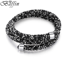 BAFFIN Charm Bracelet Cuff Bangle Double Layers For Women Crystal From SWAROVSKI Pulseira Women Party Wedding Jewelry(China)