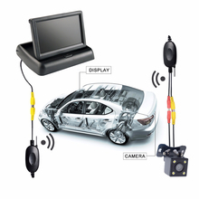 "Viecar 2In1 Car Parking System Kit Wireless 4.3""TFT LCD Monitor Foldable HD Screen +Auto Backup Rear View Camera Waterproof(China)"