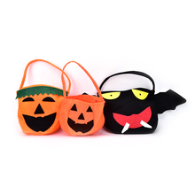 2017 Halloween Prop Pumpkin Bag Stereo Hand Basket Goody Bag With Smile Face For Children or Adult Cosplay and Decoration 1Pc(China)