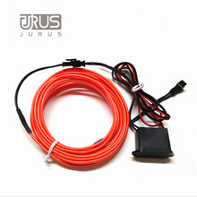 Car Styling 1/2/3/5M Car Flexible Neon Cold Light Glow Car Red EL cold Wire EL Strip Car Decoration With 12V Inverter