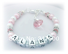 Christening Baptism Birthday Name bracelet Personalized PINK N WHITE 817-S15