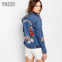 YNZZU 2017 New Women Spring Blue Cotton Denim Jacket Light Washed woman Collar Embroidery Flower fashion jeans Coats YO067