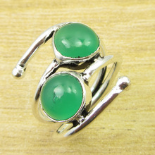 Silver Plated Ring Size US 6.25 Amazing Green Onyx WELL MADE WHOLESALE PRICE(China)