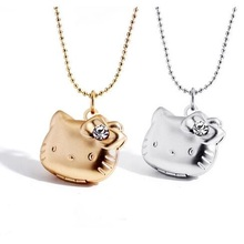 Factory Price Cute Hello Kitty Can Put Photo Frame Pendant Floating Locket Necklace Crystal Jewelry