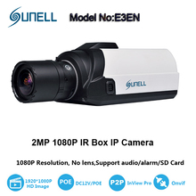 SUNELL 2MP Smart IP Box Camera H264, Low Lux 0.005, PoE/12VDC, 1ch Audio, 1ch Alarm, SD Card Slot, RTSP ONVIF BOX Camera Network