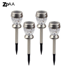 ZPAA 4PCS Stainless Steel Solar Lawn Light Garden Solar Power Light Outdoor Solar Lamp For Outdoor Landscape Yard(China)