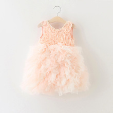 EMS DHL Free Shipping Little Girl's Holiday Rosette Ruffles dress Princess Tiers Tutu Dress  90-130