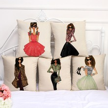 "Cotton Linen Square 18"" Fashion Lady Printed Sofa Decorative Cushion Covers Beauty Girls Living Room Chair Pillow Case(China)"