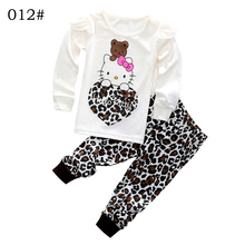 Girls Autumn Cotton Clothing Set Long Sleeve hoody Pants two pieces Kitty cat cartoon leopard casual Size for 2,3,4,5,6,7 years