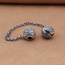 pure guarantee 925 sterling silver oxidized rose flower antique clip safety chain Fits European Charm Bracelet(China)