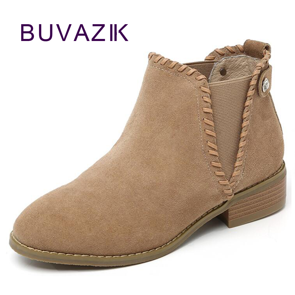 2017 winter new genuine leather womens ankle boots large size 40 41 female fashion warm shoes botas mujer<br>