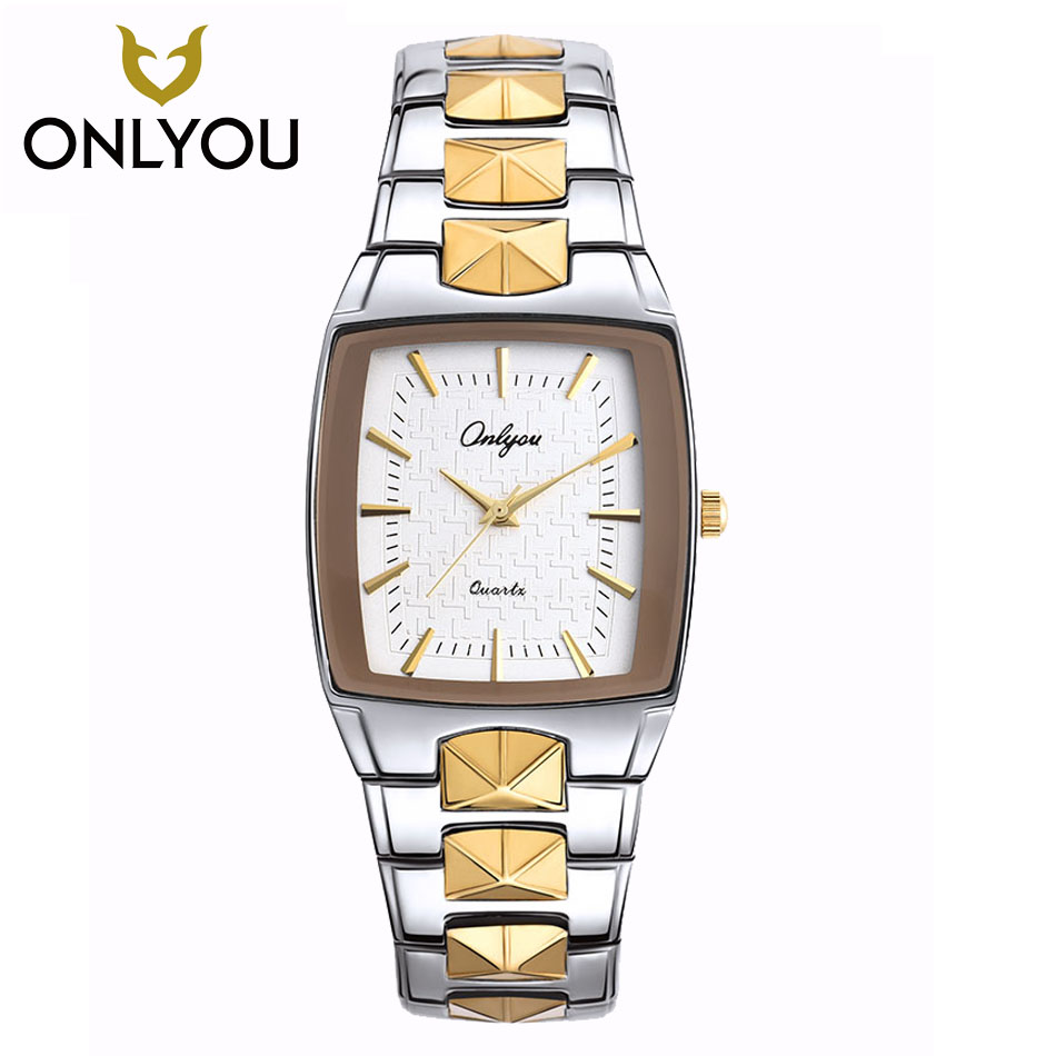 Men Watch ONLYOU Brand Luxury Glow Square Clock Stainless steel Strap Sport Wristwatch Lovers party Horloges Vrouwen Free Ship<br>