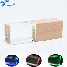 Trangee Maple Wood Crystal USB Flash Drive 4GB 8GB 16GB 32GB Pen Drive USB 2.0 Memory Stick Pendrive with LED Light