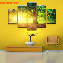 Unframed 5 Panel Sun Through The Tree Modern Print Painting On Canvas Green Landscape Cuadros Decoracion For Living Room Artwork