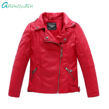 Grandwish New Kids Jackets Kids PU Leather Jacket Boys and Girls Leather Coat Children Outerwear Leather Jacket 3T-14T, SC061(China)