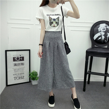Casual Pants Women Wide Leg 2017 New Fashion Female Pants Loose Black Pleated Cotton Linen Ladies High Waist Trousers Spring