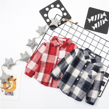 New Fall Plaid Kids Boy Girls Shirts Fashion Black Red Plaid Blouse Children Clothes Long Sleeve Cotton Children Shirts Clothing(China)