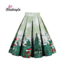 Dasbayla 2017 Women Print Vintage Pleated Skater Skirts High Waist A-Line Retro Swing Design Christmas Tree Print