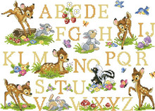 Top Quality Lovely Beautiful Counted Cross Stitch Kit Alphabet Alphabetic List Animal Deer Rabbit Bunny Dictionary Letters